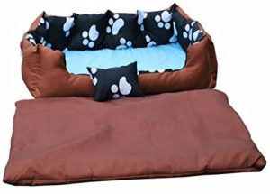 KCT Paw Print Pet Dog Bed Small Light Brown - with Free Pillow