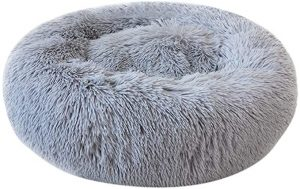 Decdeal Round Pet Bed Plush Donut Dog Bed Sofa Cats Nest Bed Cushions for Improved Sleep