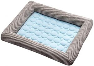 laamei Dog Bed Mat, Dog Bed Bolster, Cooling Pad Mat Breathable Kennel Crate Padded Mattress Non-slip Pet Cushion Pads for Dogs & Cats Small Grey & Blue (45 * 35 cm)