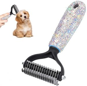 SAVORI Pet Grooming Tool Bling Pet Dematting Comb with 2 Sided Undercoat Rake for Cats and Dogs Pet Hair Mats Tangles Removing & Deshedding Brush (AB Color)