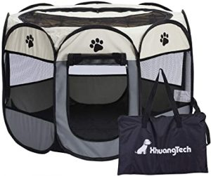 Xianghuang Technology Soft Fabric Portable Foldable Pet Dog Cat Puppy Playpen, Indoor/Outdoor use Pet Kennel Cage (Grey)