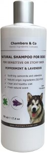 Chambers & Co Best Natural Shampoo for Dogs with Sensitive or Itchy Skin with Essential Oils 500ml (Peppermint & Lavender)
