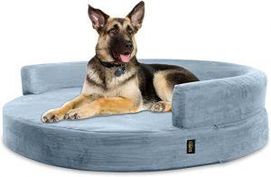 KOPEKS Deluxe Orthopedic Memory Foam ROUND Sofa Lounge Dog Bed - JUMBO XL – Grey