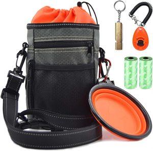 Vivi Bear Dog Treat Bag with Poop Bag Holder, Reflective & Waterproof Shoulder Strap Waist Belt
