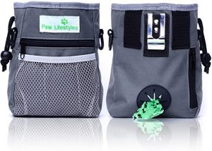 Paw Lifestyles – Dog Treat Training Pouch – Easily Carries Pet Toys, Kibble, Treats – Built-in Poop Bag Dispenser
