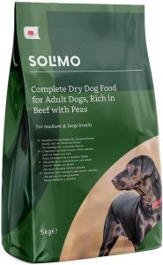 Amazon Brand - Solimo - Complete Dry Dog Food for Adult Dogs, Rich in Beef with Peas, 2 Packs of 5kg