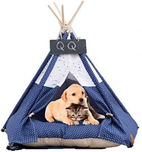 Arkmiido Pet Tent Dog & Cat Bed Soft Dog Tents & Pet Houses Indoor Outdoor with Cushion & Blackboard