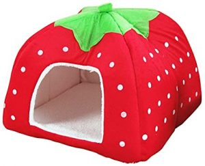 UEETEK Pet Dog Strawberry Shape Dome Tent Bed Puppy Cat Winter Sleeping Cushion Bed (Red
