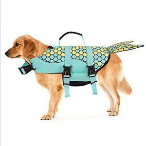 Cosplay Dog Life Jacket Vest Professional Pets Swimming Training Clothes with Lift Assist Handle Mermaid Shark Clown (L, Green mermaid)