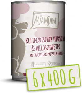 MjAMjAM Wet Dog Food, Culinary Venison and Wild Boar with Fruity Cranberries, All Natural, 6 x 400g