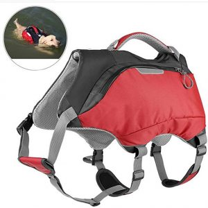 OSPet Dog Life Jacket and Backpack Vest Pet Harness Saddle Bag Hiking Gear for Camping Swimming Traveling for Medium Large Dogs