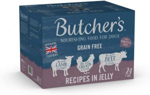 BUTCHER'S Wet Dog Food Tin Cans Grain-Free Recipes in Jelly 9.6kg (24 x 400g)