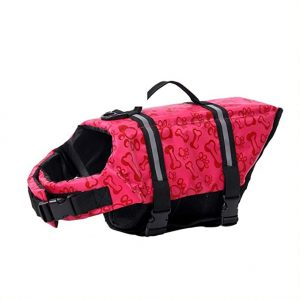 POPETPOP Dog Lifeguard, Adjustable Life Jacket for Dogs, Pet Rescue, Floating Dog Jacket, Size M (Red)