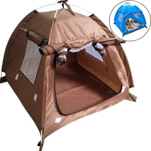 Da Jia Inc Breathable Washable Pet Puppy Kennel Dog Cat Folding Indoor Outdoor House Bed Tent(Coffee)