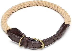 Bymia Strong Rope Dog Collar large dogs Training Collars Soft Genuine Leather - HandMade - 60cm