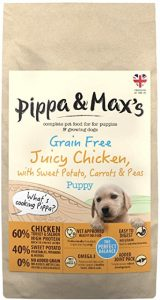 Pippa & Max's Puppy Dried Dog Food 10KG 60% Chicken, Turkey, Salmon, Sweet Potato, Carrots & Peas - Premium Grain-Free Dry Food