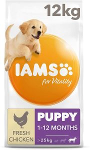 IAMS for Vitality Large Breed Puppy Dry Dog Food with Fresh Chicken, 12 kg
