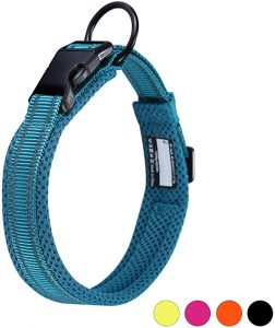 Kaka mall Pet Safety Collar Padded Mesh Soft 3M Reflective Adjustable Breathable for Puppy Extra Small Dogs Cats (XS, Blue)