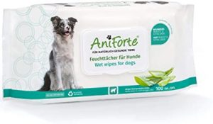 AniForte care wipes for dogs 100 pieces - XXL deodorizing cleaning wipes with extra fresh closure, hypoallergenic, especially mild, gentle, tear proof, biodegradable, natural cleaning