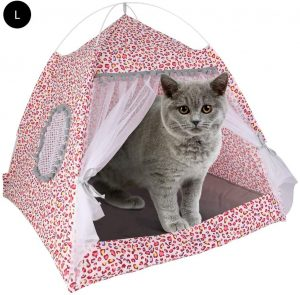 Laamei Cat Tent, Cat House Bed, Portable Folding Dog Tent Waterproof Pet Dogs Cats Small Animals Shelter Bed House for Indoor Outdoor Travel Camping (Leopard Red 48 * 48 CM)