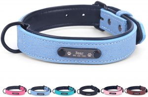 PETCUTE Personalized dog collar custom dog collars with engraved nameplate for large dogs personalized dog name tags PU leather XL