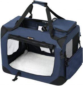 FEANDREA Dog Carrier, Folding Fabric Pet Carrier, Lightweight Pet Cage Bag, Pet Car Seat, Pet Booster Seat, Dark Blue, L 70 x 52 x 52 cm PDC70Z