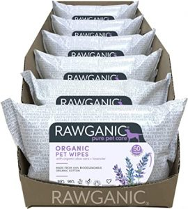 RAWGANIC Organic Pet Wipes | Gentle Natural, Premium Biodegradable Organic Cotton dog, cat, and small animal wipes | with Aloe Vera & Lavender | Case of 6 packs