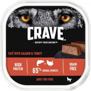 Crave Turkey & Salmon Dog Food Paté – High Protein & Grain-Free Wet Dog Food – 300 g (Pack of 10 Trays)