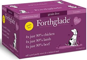 Forthglade Natural Grain Free Complementary Wet Dog Food Just 90 Percent Meat Variety Pack 395 g (Pack of 12)