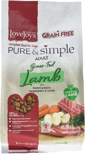 Lovejoys Pure and Simple Complete Dry Grain Free Dog Food Lamb and Sweet Potato, 2 kg