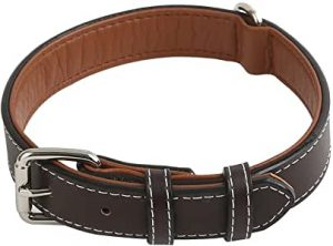 Vivifying Leather Dog Collar, Durable and Comfortable Genuine Leather Pet Collar for Large, Medium and Small Dogs, Adjustable 14.3-18.4 Inches (Dark Brown)