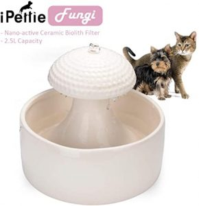 iPettie Ceramic Drinking Fountain for Cats/Dogs/Pets Automatic Water Fountain with Carbon Filter 2.1 Litres/Mushroom/Ball Cat Fountain Ceramic Filter Pet Fountain