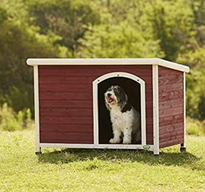 Heritage Deluxe Wooden Dog Kennel House Outdoor Home Slanted Felt-Lined Roof Timber Puppy Kennels 3 Sizes - with Clear Plastic Front Door…