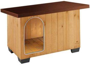 Ferplast Dog Engel House Baita 80 in FSC Wood, Insulating Plastic Feet, Aluminium Chew-Proof Door, Opening Roof