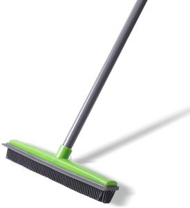 Soft Push Broom Bristle 59'' Rubber Broom Carpet Sweeper with Squeegee