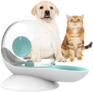 Oldpapa Dog Water Dispenser, Cat Gravity Waterer Snail Shape Automatic Cat Water Fountain Dog Water Bowl Dispenser - Easy to See Water Level - 2.8L(0.8 Gallon)