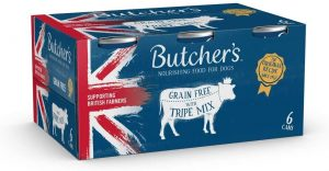 BUTCHER'S Wet Dog Food Tin Cans Grain-Free Tripe Mix 9.6kg (24 x 400g)