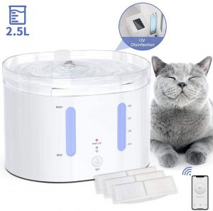 AIIYME Cat Fountain, UV Ozone Lamp Pet Water Fountain Controlled by APP with Power-off Protection Smart Automatic Cat Dog Water Dispenser(84oz/2.5L, 3 PCS Filters)