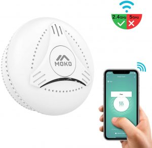 MoKo Smart WiFi Smoke Detector Alarms, Wireless Smoke Detector Smoke Fire Alarms Detectors with Test Button for Indoor Depot Hotel School Travel, ONLY 2.4GHz WiFi