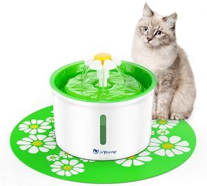 isYoung Pet Drinking Water Fountain with Water Level Window, 1.6L Dog&Cat Fountain Automatic Pet Water Dispenser with Replacement Filter and Flower Style, Super Quiet and Hygienic