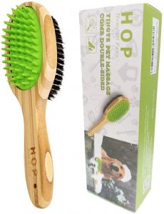 Sunwuun Pet Brush, Bamboo Silicone Dog Brush, Double Sided Pet Massage Bath Brush for Dog Cat Grooming Massaging, Remove Loose Fur and Dirt