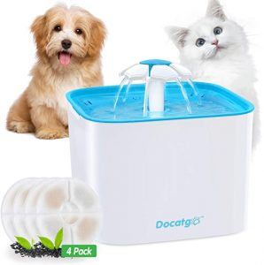 Docatgo Cat Water Fountains, Pet Drinking Fountain For Cats dogs, Ultra Silent Healthy & Cat Waterfall Flower Style Fountain, 3 Modes Drinking Fountain 2L Water Dispenser with 4 Pack Carbon Filters