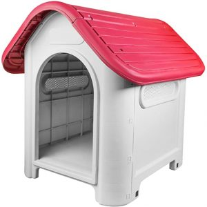 RayGar Plastic Dog Cat Kennel House Weatherproof for Indoor and Outdoor Pet Shelter – Red
