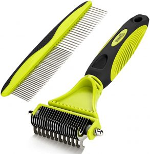 Pecute Grooming Dematting Comb Tool Kit - Double-Sided Blade Rake Comb Grooming Comb - Removes Loose Undercoat, Knots, Mats and Tangled Hair