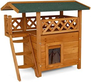 """dibea CH10811, Cat House, wooden Lodge with Terrace, 77x50x73 cm (30""""x21""""x29"""") (grey-white)"""