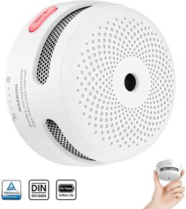 X-sense Mini Smoke Alarm, 10-Year Battery Fire Alarm Smoke Detector with LED Indicator & Silence Button, Conforms to EN14604 Standard, XS01