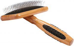 Bass Brushes Medium Slicker Style Pet Brush with Bamboo Wood Handle and Rubber Grips