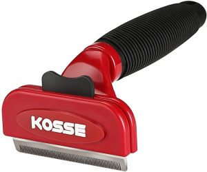Kosse Professional Pet Deshedding Tool with Fur Ejector, Grooming Brush Effectively Reduces Shedding by up to 90%, Grooming Comb for Cats and Dogs –Medium
