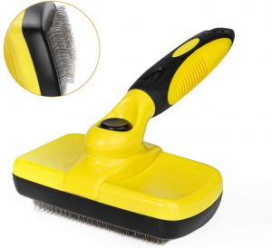 MUDEELA Self Cleaning Slicker Brush for Dogs and Cats - Designed for Medium and Long Hair – Quickly and Efficiently Removes Tangles, Knots, Dander, and Trapped Dirt without Pain or Discomfort.