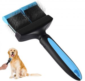 Petacc Double Sided Pet Grooming Brush Flexible Dog Slicker with Non-slip Handle and Rounded Tipped Pins (Black&Blue)